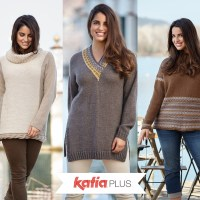Katia Plus: knit patterns for sizes 16-18, 20-22 and 24-26
