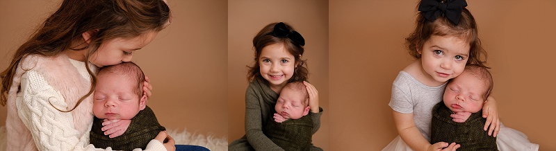 Macomb Newborn Photographer newborn boy with sisters
