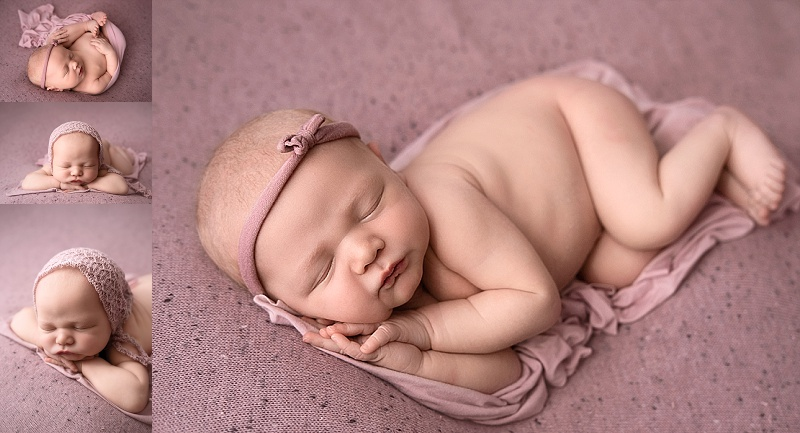 Macomb Newborn Photographer baby girl session on pink background
