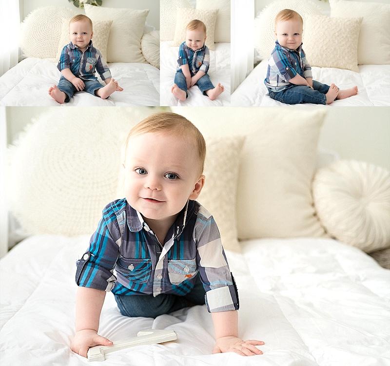 Mt Clemens Cakesmash 1 year old boy, white bedding