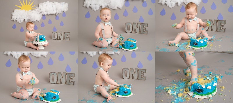 Mt Clemens Cakesmash Photographer boy with itsy bitsy spider cake, clouds, rain