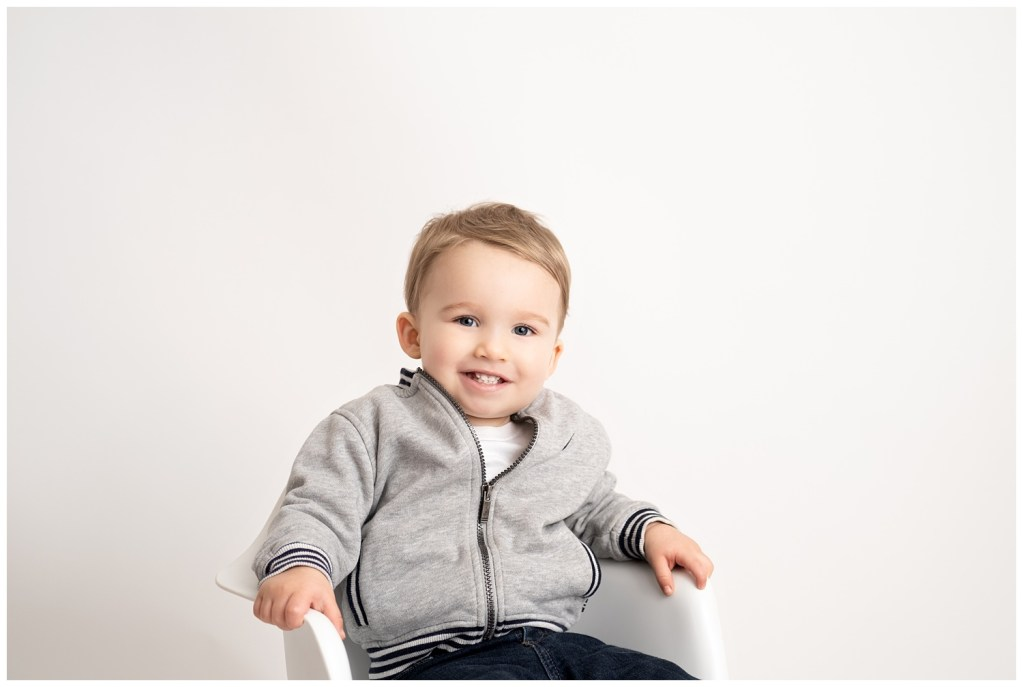 18 month boy on white background