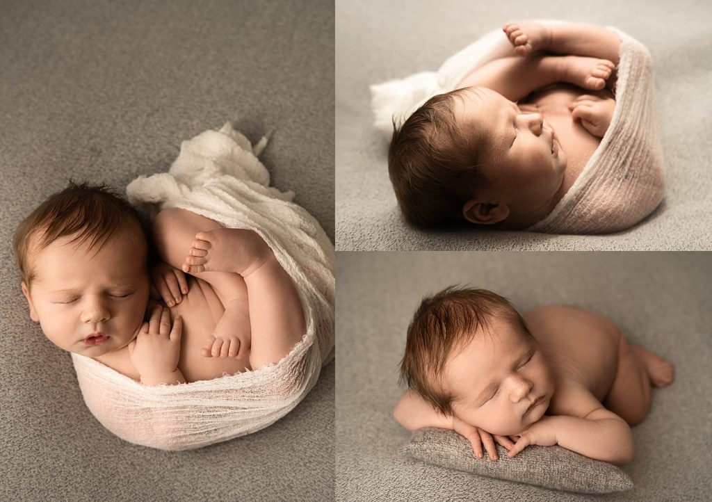 newborn session baby boy on brown backdrop. Macomb Newborn Photographer
