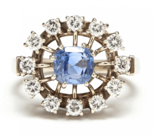 "Retro Modern Diamond and Sapphire ""Sputnik"" Ring"