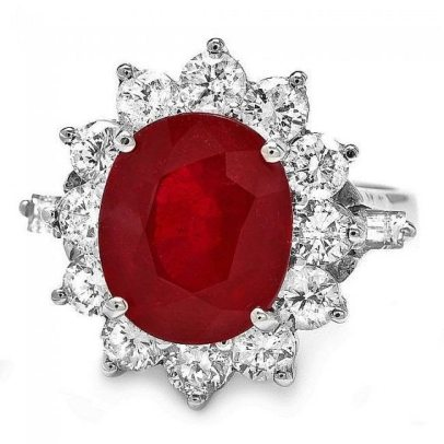 Estate Ruby and Diamond Halo Engagement Ring
