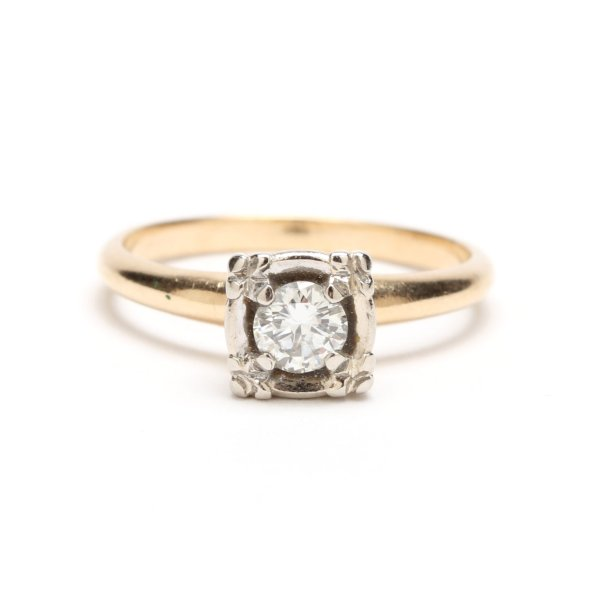 Antique Art Deco 14kt yellow & white gold .30ct Diamond Engagement Ring