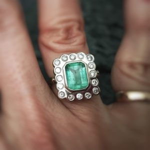 Vintage 14kt WG Colombian Emerald and Diamond Bezel Set Halo Ring