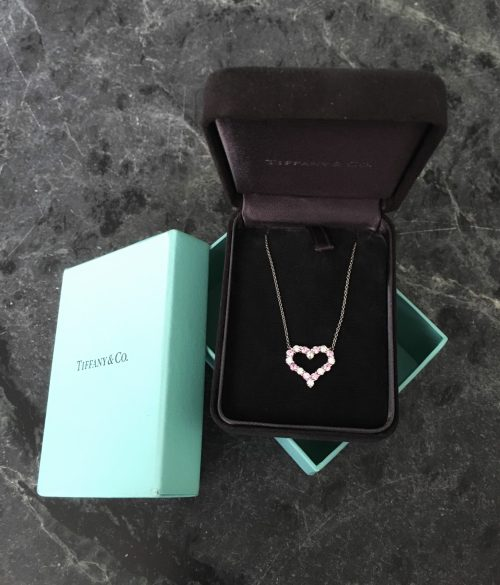 Estate Tiffany & Co. Platinum, Pink Sapphire and Diamond Heart Pendant