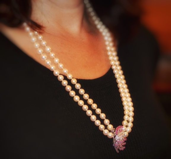 Antique Art Deco Cultured Pearl, Ruby, and Diamond Double Strand Necklace