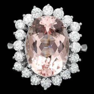 Estate 14kt White Gold, Pink Morganite and Diamond Engagement Ring