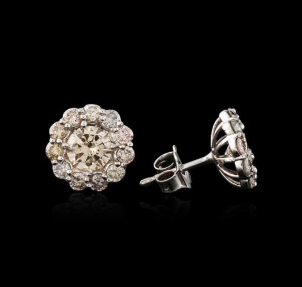 Estate 14kt White Gold Cluster Diamond Earrings