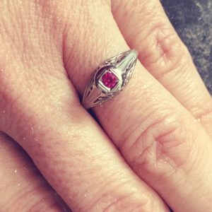 Victorian Antique White Gold And Genuine Ruby Engagement Ring