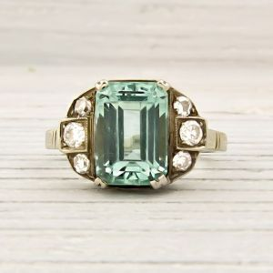 Vintage Green Beryl and Diamond Engagement Ring Photo credit: Pinterest