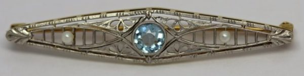 Antique Sterling Silver and 14kt Yellow Gold Victorian Aquamarine and Seed Pearl Brooch Pin jewelry