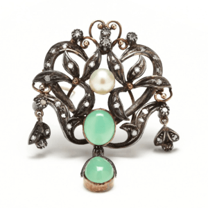 Victorian Antique Silver Topped Chrysoprase, Cultured Pearl and Diamond Pendant/Brooch