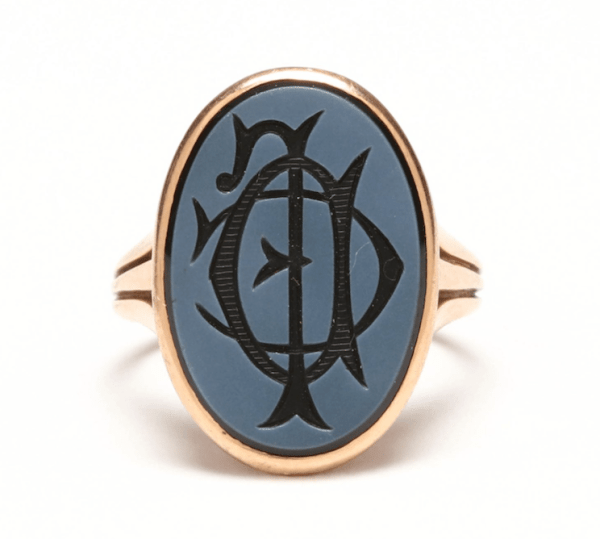 Antique Early 20th Century Onyx and 14kt Rose Gold Signet Ring