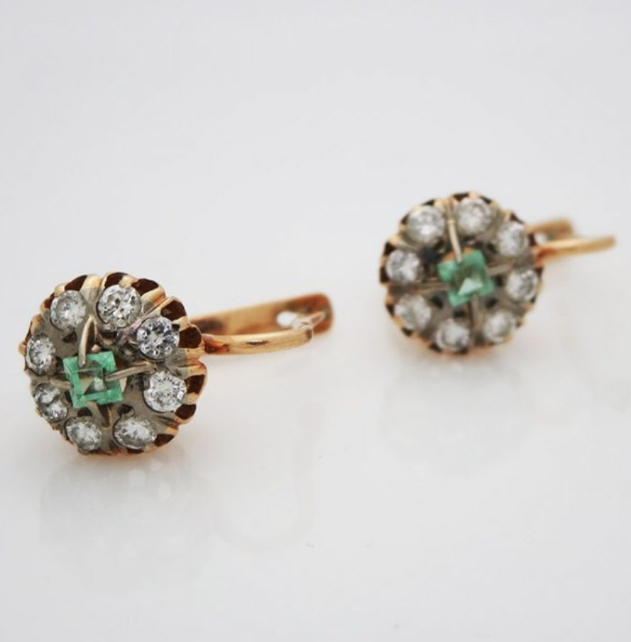 5952ed19f SOLD * Antique Russian 14kt Yellow Gold Lever Back Emerald And Diamond  Earrings