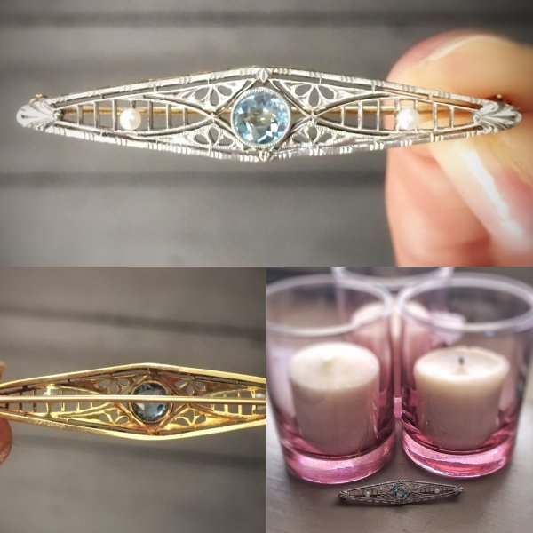 Antique Edwardian 14kt Yellow Gold and Platinum Aquamarine and Seed Pearl Brooch