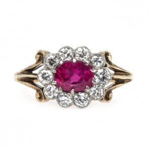 Vintage Edwardian Natural Ruby and Diamond Halo Engagement Ring Photo credit: Trumpet and Horn