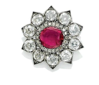 19th Century Ruby and Diamond Brooch Pendant, formerly in the collection of HM Queen Victoria Eugenia of Spain (1887-1969)