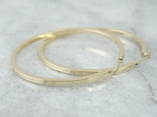 Vintage Gold Hoop Earrings Jewelry