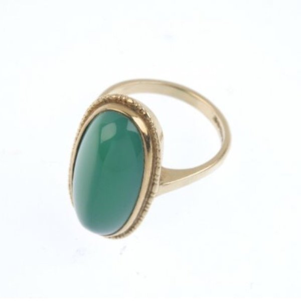 Retro Modern Vintage 9ct Gold Chalcedony Ring
