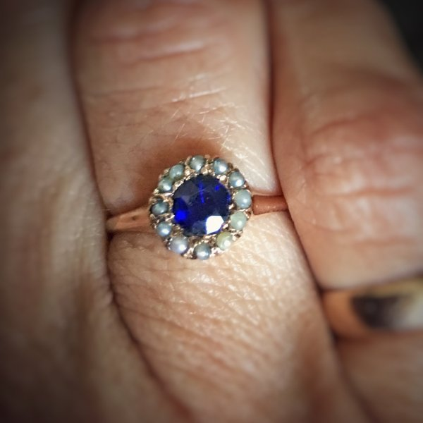 Antique 14kt Rose Gold, Blue Garnet And Seed Pearl Halo Engagement Ring