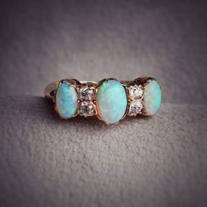 Vintage 18kt Yellow Gold Opal and Diamond Anniversary Band jewelry