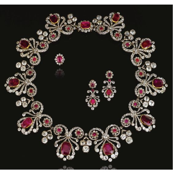 Ruby and diamond parure, 1820s and later