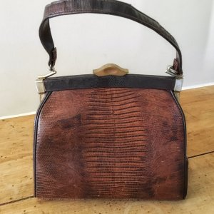 Fancy Lizard Skin Kelly Bag (Vintage)