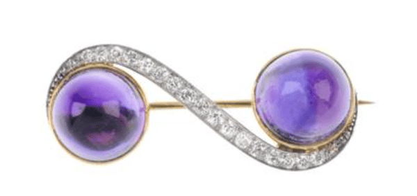 14kt Yellow & White Gold Mid-20th Century Amethyst and Diamond Brooch
