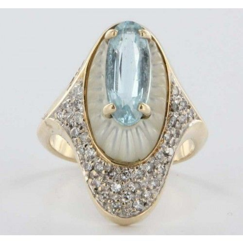 """Alouette"" ~ vintage azure topaz and mother-of-pearl ring"