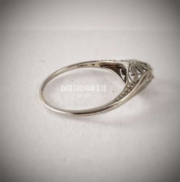 Victorian 14kt White Gold Diamond (.04cts) Flower Engagement Ring (Antique)