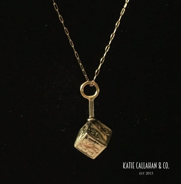 14kt Yellow Gold Secret Message Box Pendant (Vintage)