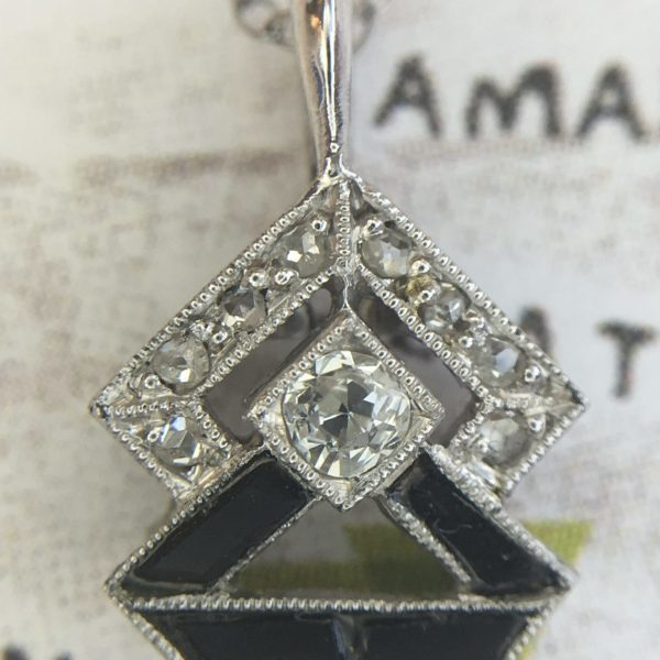 Art Deco Platinum Diamond and Onyx Pendant (former Stick Pin - Antique)