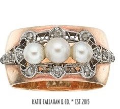Edwardian Mine Cut Diamond and Cultured Pearl 14kt Yellow Gold and Platinum Topped Ring (Antique)