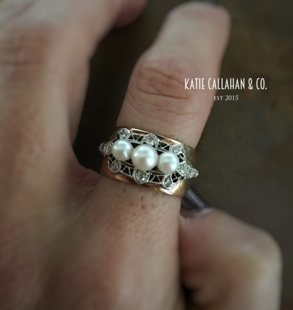 Mine Cut Diamond and Cultured Pearl 14kt Yellow Gold and Platinum Topped Ring