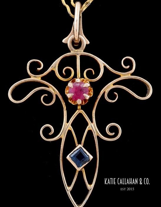 Art Nouveau 10kt Yellow Gold Lavalier Filagree Pearl Ruby and Sapphire Pendant (Antique)