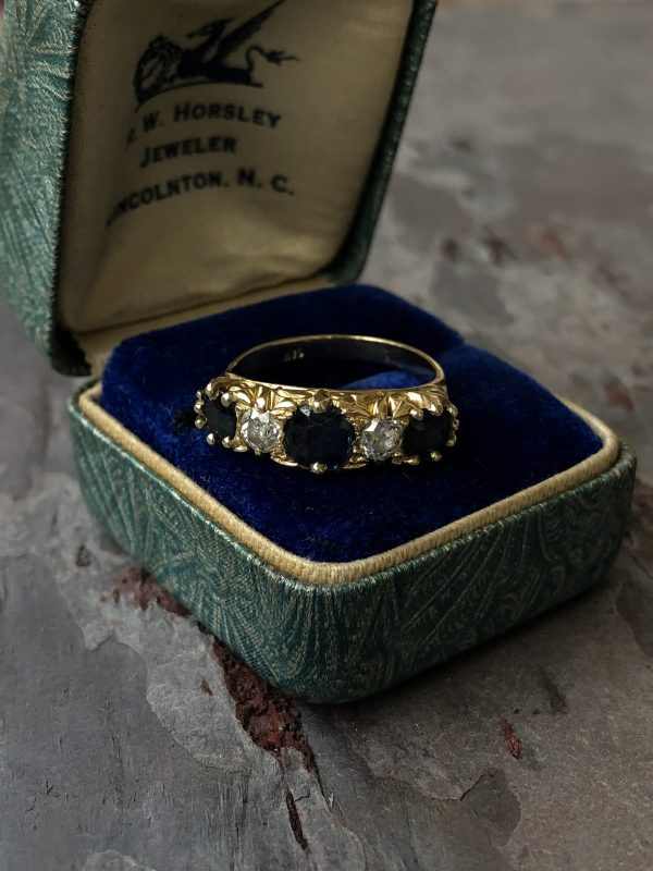 Edwardian 14kt Yellow Gold Mine Cut (.36ctw) and Sapphire (1.37ctw) Ring