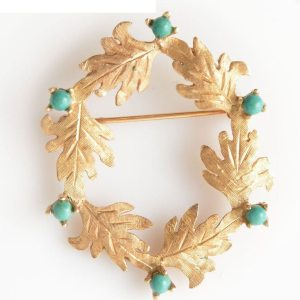 Turquoise and 14kt Yellow Gold Wreath Brooch (Vintage)