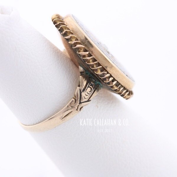 Tughra Style 8kt Yellow Gold and Enamel Pearl Ring (Vintage)