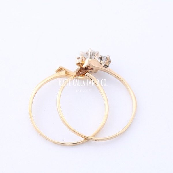 Retro 14kt Yellow Gold 3 Stone Diamond Wedding Set (Vintage)
