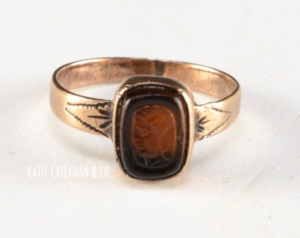 Hard Stone Intaglio 10kt Yellow Gold Baby Ring