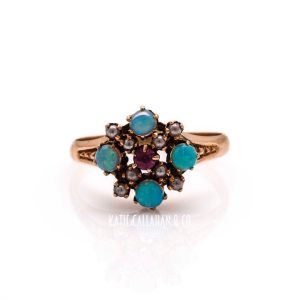 Pink Tourmaline, Opal and Pearl 10kt Yellow Gold Victorian Ring (Antique)