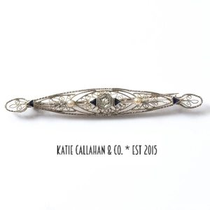 Edwardian 9kt White Gold Diamond Pearl and Sapphire Filigree Brooch (Antique)