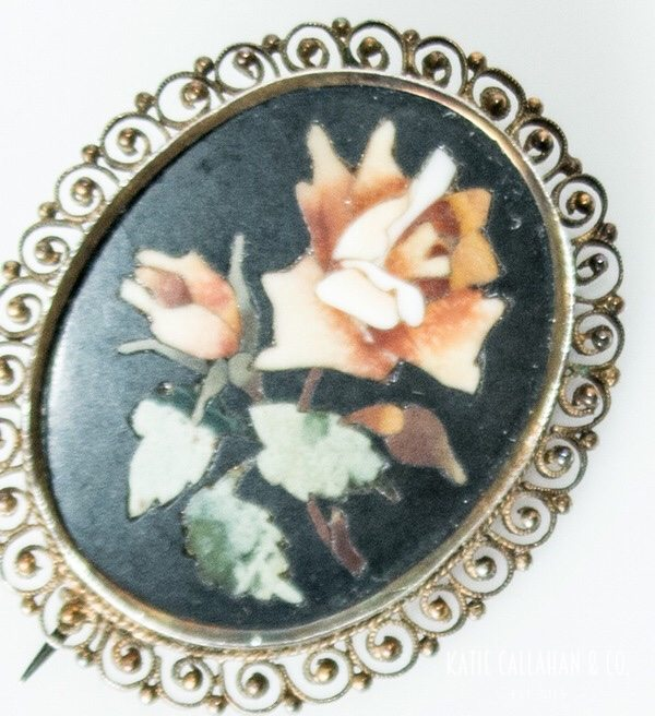 Onyx Hand Cut Mosaic Gold-Toned Brooch (Antique)