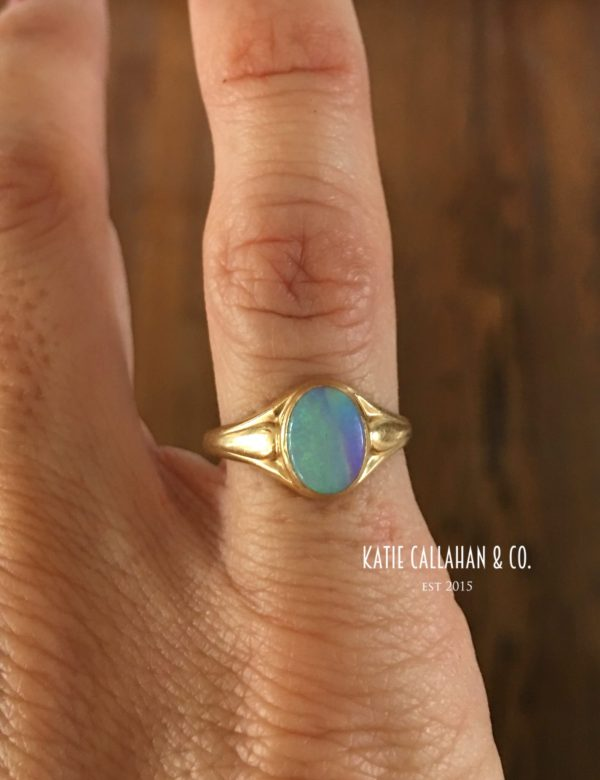Art Deco 10kt Yellow Gold Opal Ring (Antique)