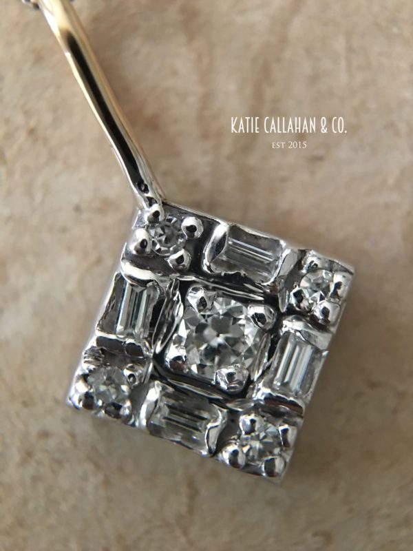 Art Deco 14kt White Gold Diamond Stick Pin Conversion (Antique)