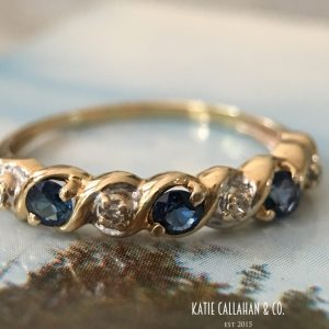 Retro 14kt Yellow Gold Diamond and Sapphire Anniversary Band (Vintage)