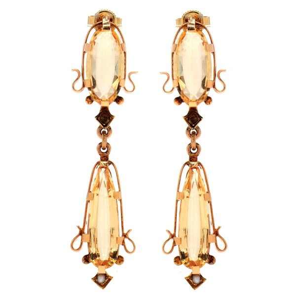 Art Nouveau 14K Yellow Gold Yellow Topaz and Seed Pearl Earrings (Antique)Art Nouveau 14K Yellow Gold Yellow Topaz and Seed Pearl Earrings (Antique)